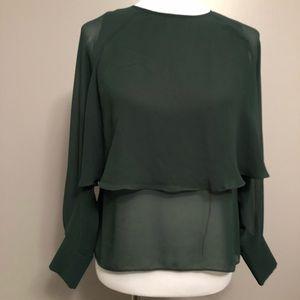 Zara Woman Long Sleeve Cuffed Sheer Women Top XS